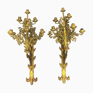 Antique French Monumental Bronze Sconces, Set of 2