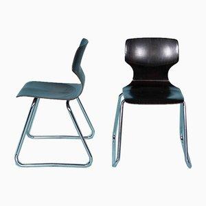 Esszimmerstühle mit Stahlrohrgestell & Sitz aus Schichtholz von Elmar Flötotto für Pagholz Flötotto, 1970er, 2er Set