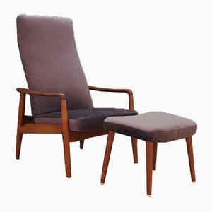 Mid-Century Danish Teak Lounge Chair and Ottoman Set by Søren Ladefoged for SL Mobler, 1970s