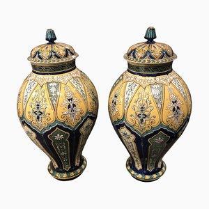Frascos de jengibre franceses modernistas de porcelana de Faienceries Sarreguemines, 1890s. Juego de 2