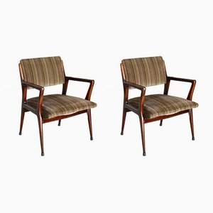 Mid-Century Velvet Lounge Chairs, 1950s, Set of 2