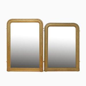 Antike französische Spiegel mit vergoldeten Holzrahmen, 2er Set