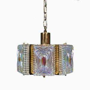 Danish Brass and Pressed White Glass Pendant Lamp, 1960s