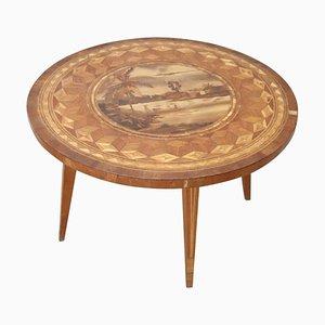 Mesa de centro italiana vintage de madera con incrustaciones