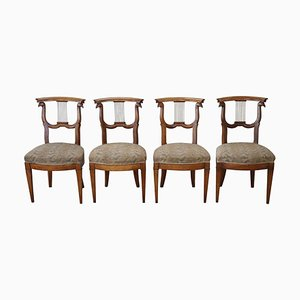 Antique Hand Carved Cherry Wood Dining Chairs, 1780s, Set of 4
