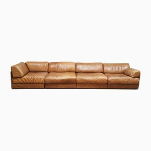 Swiss Model DS76 Leather Modular Sofas from de Sede, 1970s, Set of 4