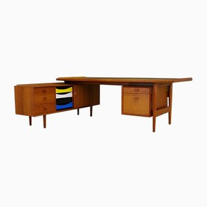 Vintage Danish Teak Desk and Sideboard Set by Arne Vodder for Sibast, 1960s