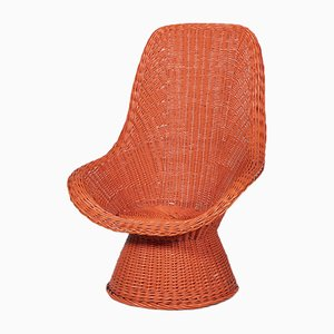Red Wicker Lounge Chair, 1970s