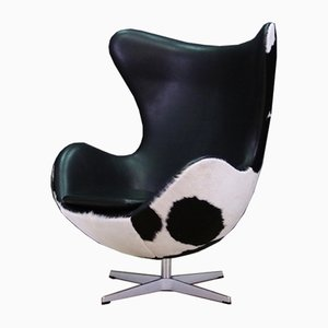 Vintage Danish Steel and Leather Lounge Chair by Arne Jacobsen for Fritz Hansen, 1980s