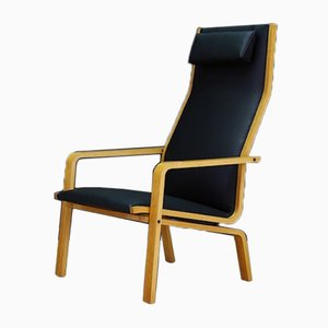 Vintage Danish Model 4335 Ash and Eco-Leather Lounge Chair by Arne Jacobsen for Fritz Hansen, 1960s