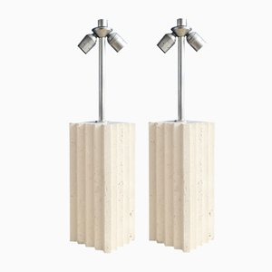 Italian Travertine Block Table Lamps, 1970s, Set of 2