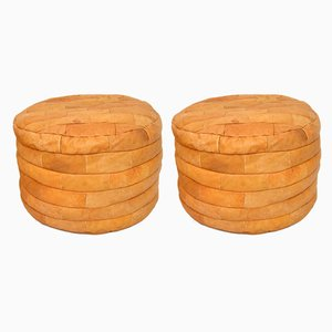 Leather Bean Bag Poufs, 1970s, Set of 2