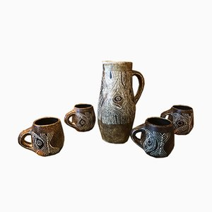 Mid-Century Glazed Ceramic Pitcher and Mugs Set by Les 2 Potiers