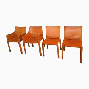 Vintage Leather Armchairs by Mario Bellini for Cassina, Set of 4