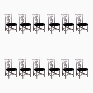 19th Century Carved Dining Chairs, Set of 12