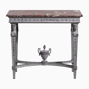 Antique Gustavian Style Marble Top Console Table