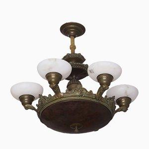 Antiker Kronleuchter aus Bronze & Alabaster mit 6 Leuchten