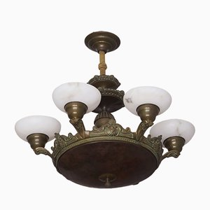 Lustre à 6 Luminaires d'Époque en Bronze et Albastre
