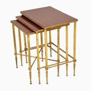 Brass & Mahogany Nesting Tables, 1950s