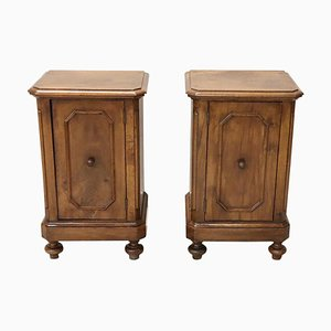 Antique Italian Walnut Nightstands, 1850s, Set of 2