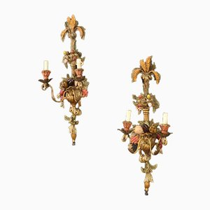 Italian Lacquered, Painted and Gilded Sconces, 1970s, Set of 2