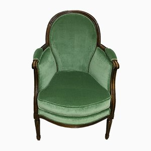 Antique Velvet Louis XVI Bergere Lounge Chair