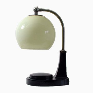 Vintage Bauhaus German Bakelite and Opaline Glass Table Lamp by Marianne Brandt