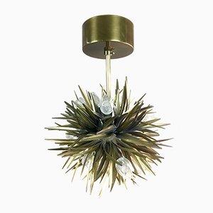 Italienische Deckenlampe aus Messing in Blätter-Optik, 1950er