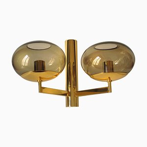 Smoked Glass & Gilded Metal Sconce by Gaetano Sciolari, 1970s