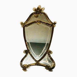 Antiker Spiegel mit geätztem Rahmen aus Muranoglas