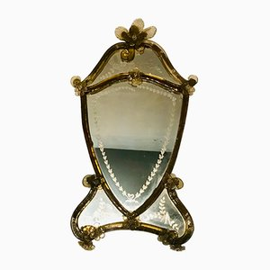 Antique Etched Murano Glass Mirror