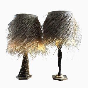 Lámparas de mesa de bronce y fibra de palma de Giuliano Ottaviani, años 90. Juego de 2