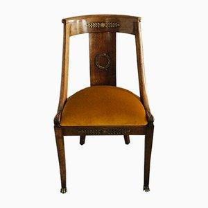 Antique Velvet and Bronze Gondola Desk Chair