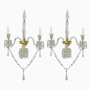 19th Century Louis XV Style French White Glass Sconces from Baccarat, Set of 2