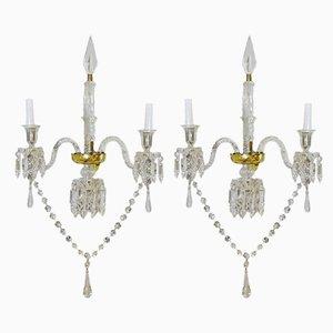 Französische Louis XV Wandleuchten aus Glas von Baccarat, 2er Set