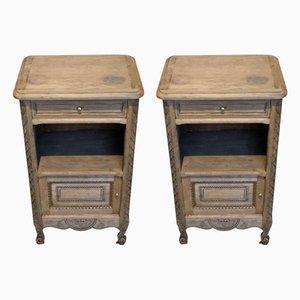 Antique Bleached Oak Nightstands, Set of 2