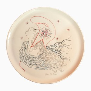 Ceramic Decorative Plate by Jean Cocteau for Lecoules, 1960s