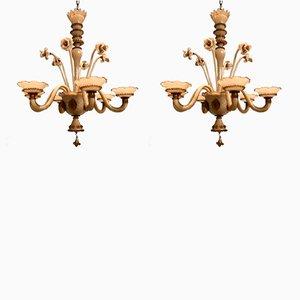 Lámparas de araña de cristal de Murano, años 40. Juego de 2
