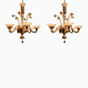 Murano Glass Chandeliers, 1940s, Set of 2