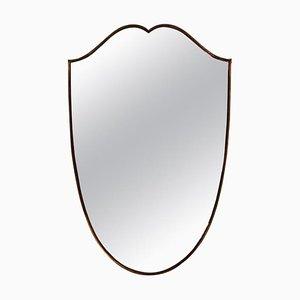 Mid-Century Spiegel mit Rahmen aus Messing