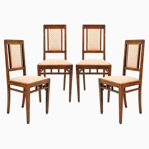 Art Nouveau Walnut Dining Chairs, 1920s, Set of 4