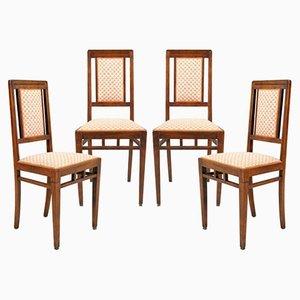 Esszimmerstühle aus Nussholz im Jugendstil, 1920er, 4er Set