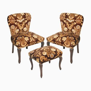 Antique Damask Velvet Armchairs and Ottoman Set