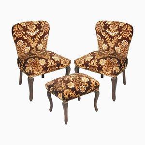 Antique Damask Velvet Armchairs and Ottoman Set