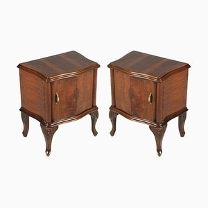 Baroque Style Italian Carved Walnut and Walnut Veneer Nightstands, 1920s, Set of 2