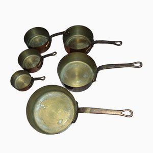 Copper Pans Set, 1960s, Set of 6