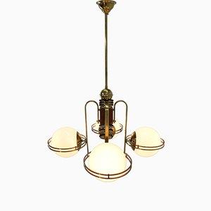 Lampadario grande Art Déco in ottone, anni '20