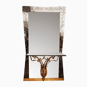Italienischer Spiegel von Pier Luigi Colli für Cristal Art, 1950er