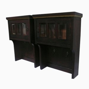 Antique Dark Oak Hanging Curio Cabinets, Set of 2