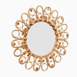 Mid-Century Modern Handcrafted Rattan Sunburst Mirror, 1960s